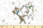 Clothworks - Having a Ball - Dancing Cats - White (Y3186-1)