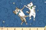 Clothworks - Having a Ball - Dancing Cats - Dark Blue (Y3186-89)