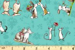 Clothworks - From the Heart - Animal Friends - Turquoise (Y3358-101)