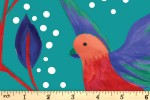 Craft Cotton Co - Birds of Paradise - Birds and Leaves - Turquoise (2753-07)