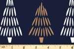 Craft Cotton Co - Metallic Christmas Prints - Christmas Trees (with Gold Metallic) (2801-02)