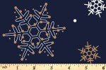 Craft Cotton Co - Metallic Christmas Prints - Snowflakes (with Gold Metallic) (2801-05)