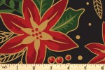 Craft Cotton Co - Traditional Poinsettia Metallic - Poinsettia - Black (with Gold Metallic) (2806-01)