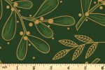 Craft Cotton Co - Traditional Poinsettia Metallic - Mistletoe - Green (with Gold Metallic) (2806-03)