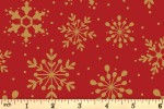 Craft Cotton Co - Traditional Poinsettia Metallic - Snowflakes - Red (with Gold Metallic) (2806-04)