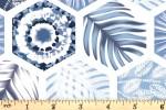 Craft Cotton Co - Indigo Elements - Hexagons - White (2833-12)