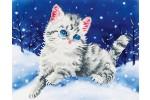 Diamond Dotz - Kitten in the Snow (Diamond Painting Kit)