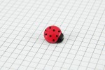 Drops Ladybird, Plastic Button, Red with Black Spots, 14mm