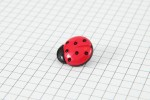 Drops Ladybird, Plastic Button, Red with Black Spots, 18mm