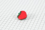 Drops Strawberry, Plastic Button, Red and Green, 18mm