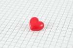 Drops Heart Shaped, Plastic Button, Red, 15mm