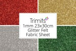 Glitter Felt Fabric Sheet - 1mm -  23x30cm