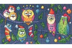 Heritage Crafts - Birds of a Feather - Christmas Owls (Cross Stitch Kit)