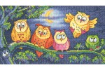 Heritage Crafts - Birds of a Feather - A Hoot of Owls (Cross Stitch Kit)