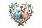 Heritage Crafts - Birds of a Feather - Love Owls (Cross Stitch Kit)