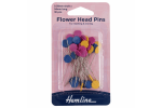 Hemline Flower Head Pins, 54mm, Assorted Colours (pack of 36)