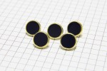 Round Gold Rimmed Buttons, Navy, 11.25mm (pack of 5)