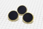 Round Gold Rimmed Buttons, Navy, 17.5mm (pack of 3)