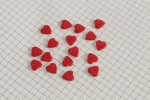 Heart Shape Buttons, Pearlescent Red, 10mm (pack of 17)