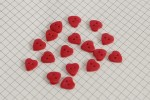 Heart Shape Buttons, Pearlescent Red, 11.25mm (pack of 17)