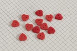 Heart Shape Buttons, Pearlescent Red, 12.5mm (pack of 12)