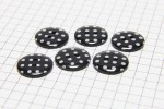 Round Buttons, Black with White spots, 15mm (pack of 6)