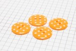 Round Buttons, Orange with White spots, 17.5mm (pack of 4)