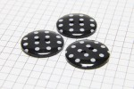 Round Buttons, Black with White spots, 22.5mm (pack of 3)