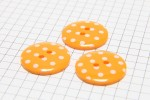 Round Buttons, Orange with White spots, 22.5mm (pack of 3)