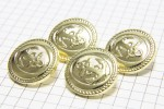 Round Anchor Buttons, Gold, 21.25mm (pack of 4)
