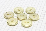 Round Crimp Edge Buttons, Gold, 15mm (pack of 7)