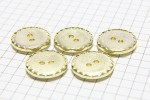 Round Crimp Edge Buttons, Gold, 17.5mm (pack of 5)