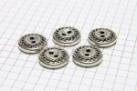Round Chain Edge Buttons, Silver, 15mm (pack of 5)
