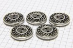 Round Chain Edge Buttons, Silver, 20mm (pack of 5)