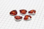 Crystal Heart Buttons, Red, 12mm (pack of 5)