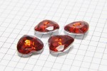 Crystal Heart Buttons, Red, 16mm (pack of 4)