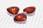 Crystal Heart Buttons, Red, 20mm (pack of 3)