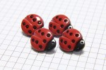 Ladybird Buttons, Red with Black spots, 17.5mm (pack of 4)