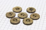 Round Coconut Shell Buttons, Natural Brown, 15mm (pack of 7)