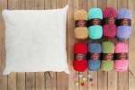 Attic24 - Jolly Chunky Bag and Rainbow Raindrop Cushion (Stylecraft Yarn Pack with 8 Buttons & Cushion Pad)