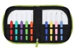 KnitPro Waves Soft Grip Crochet Hooks - Set of 9 - Fluorescent Green Leatherette Case