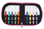 KnitPro Waves Soft Grip Crochet Hooks - Set of 9 - Fluorescent Pink Leatherette Case