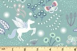 Lewis and Irene - Fairy Nights - Unicorn Meadow - Soft Teal with Glow in the Dark (A405.1)