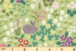Lewis and Irene - Bunny Hop - Bunny and Chick Floral - Spring Green (A530.2)