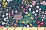 Lewis and Irene - Bunny Hop - Bunny and Chick Floral - Dark Blue (A530.3)