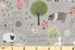 Lewis and Irene - Piggy Tales - Farmyard - Mid Grey (A531.2)