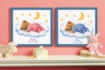 Vervaco - Birth Record - Teddy On Clouds (Cross Stitch Kit)