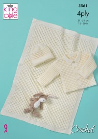 King Cole 5561 Baby Jacket, Hat and Blanket in Big Value Baby 4 Ply (leaflet)