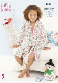 King Cole 5569 Dressing Gown, Snowman and Stocking in Yummy (leaflet)