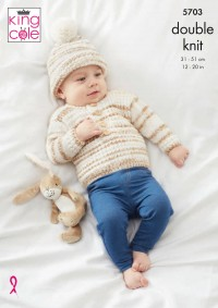 King Cole 5703 Sweaters, Waistcoat, Hat and Mittens in Baby Stripe DK (leaflet)